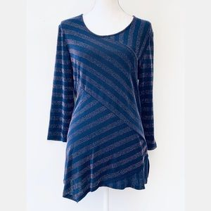 JM Collection Navy Blue with Metallic Gold Tunic
